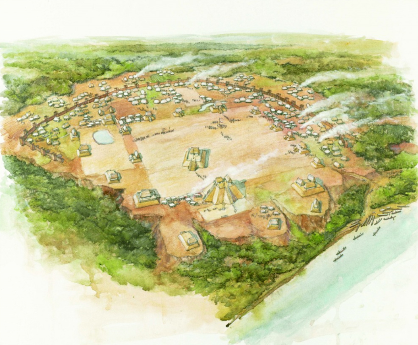 artistic rendering of Moundville over 800 years ago
